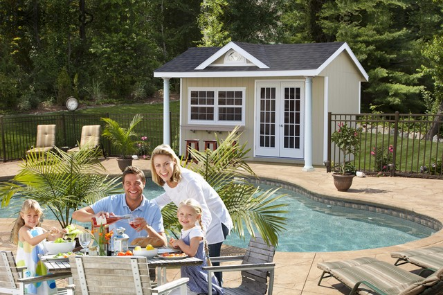 Swimming pool house sheds and cabanas beach style pool for Pool house shed ideas