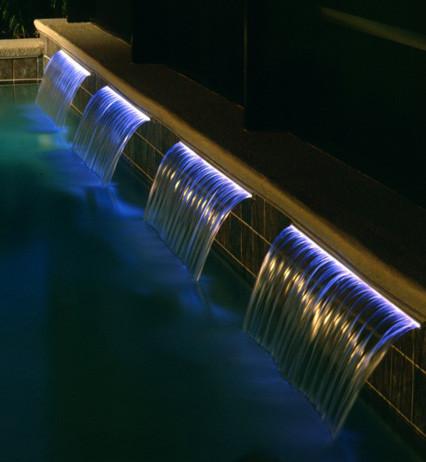 Swimming Pool Wall Waterfall - Savi Nova Fall Kit tropical-pool