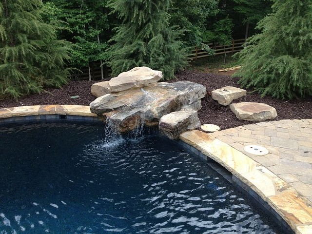 Swimming Pool Rock Features : Swimming pool water features traditional