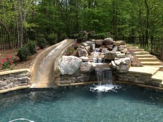 swimming pool water slides traditional pool atlanta