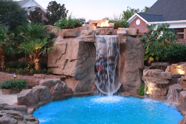 Swimming pool waterfall Dolphin Pools - Tropical - Pool ...