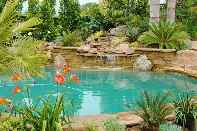 Swimming pool waterfall water feature in los angeles - Salt water swimming pools los angeles ...