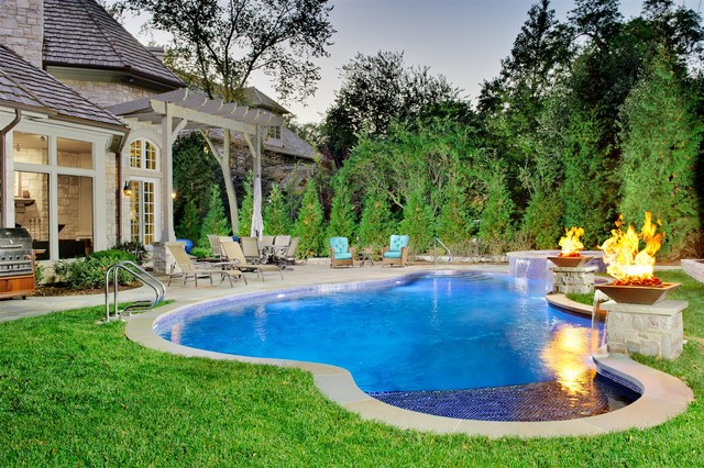 Swimming pool with fire features contemporary pool for Pool decor design