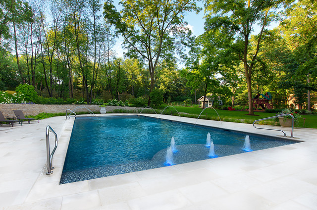 Swimming pool with various water features traditional pool chicago by platinum poolcare - Rectangle pool with water feature ...