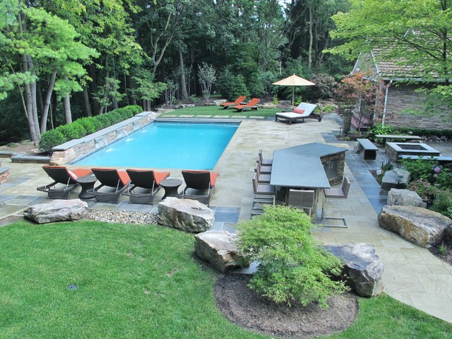 Swimming pool with waterfall bar pool house fire pit for Pool and firepit design