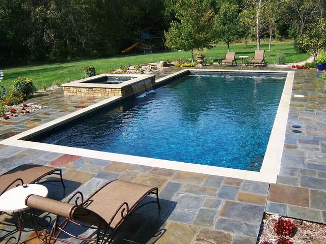 swimming pools traditional pool - Rectangle Pool With Spa