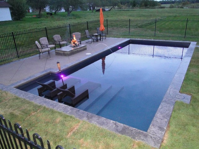 Tanning ledge project traditional pool other metro for Pool design with tanning ledge