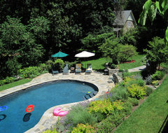 Terraced Patios & Gardens, Chestnut Hill traditional-pool