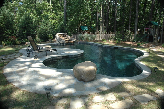 The Customer Wanted A Pool That Looks Like A Pond Modern Pool Atlanta By Hilltop Pools