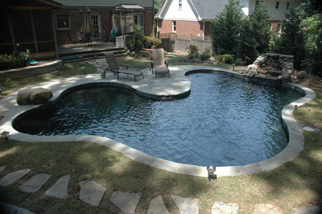 The Customer Wanted A Pool That Looks Like A Pond Modern Swimming Pool Hot Tub Atlanta