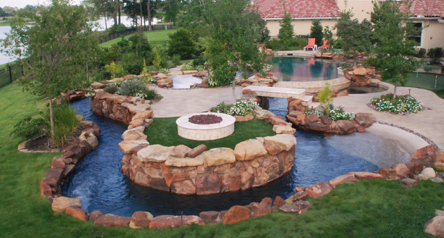 The Lazy River Texas Hill Country Style Eclectic Pool