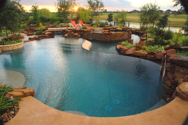 The lazy river texas hill country style eclectic pool for Pool design houston tx