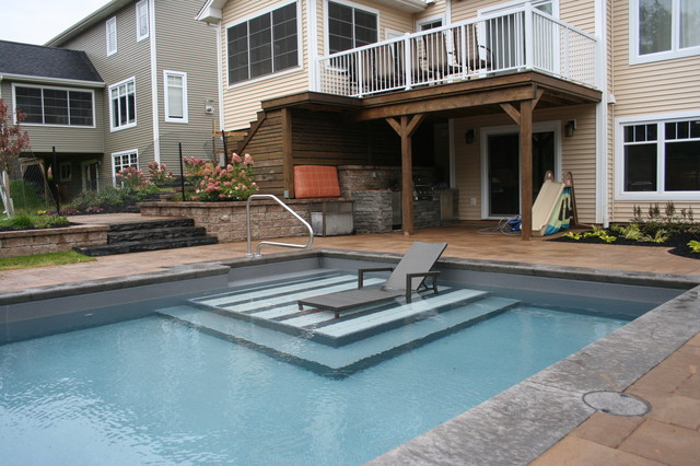 Tiled tanning ledge traditional pool other by for Pool design with tanning ledge