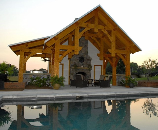 timber frame pool pavilion in georgia rustic pool