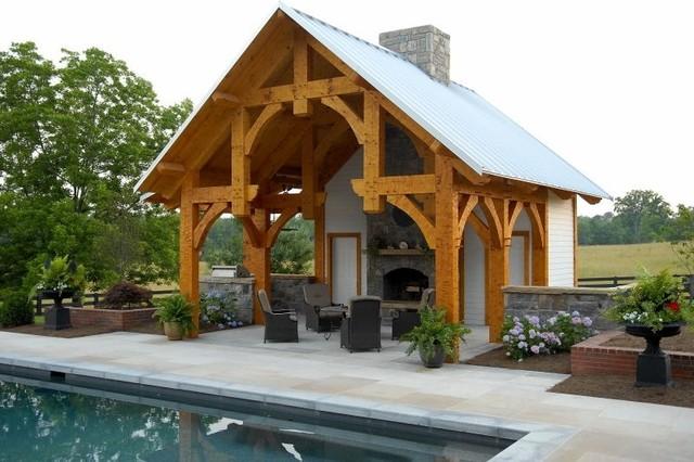 timber frame pool pavilion in georgia traditional pool