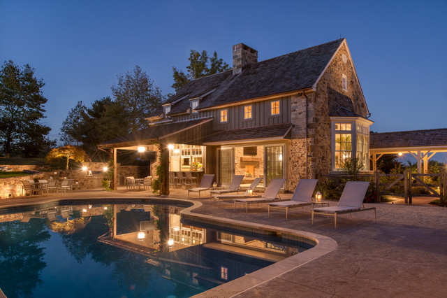 Timber Framed Pool House Traditional Pool