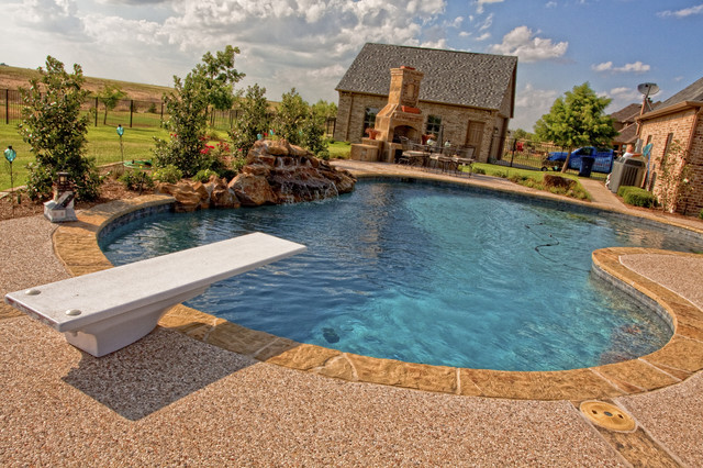 Traditional Diving pool with Fireplace traditional-pool