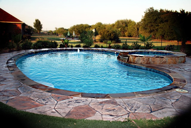 Traditional Kidney Shaped Pool With Stamped Concrete Deck Traditional Pools Hot Tubs Dallas By Sam S Outdoor Living