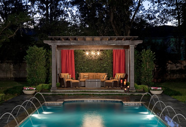 Traditional pool and landscaping for Exterior worlds landscape design