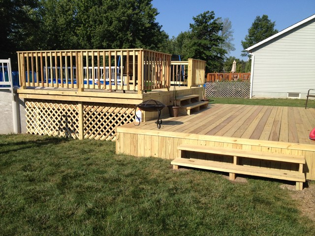 Decks patios traditional pool cleveland by for Multi level deck above ground pool
