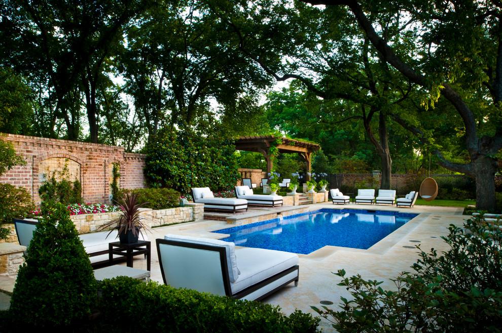 Hot tub - large traditional backyard rectangular hot tub idea in Dallas