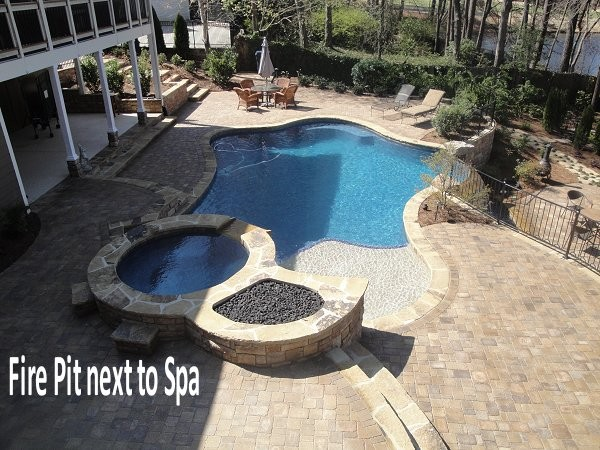 Outdoor Fireplace or Fire Pit traditional-pool
