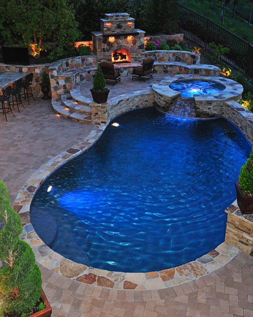 Traditional Pool with Fireplace Traditional Pool Orange