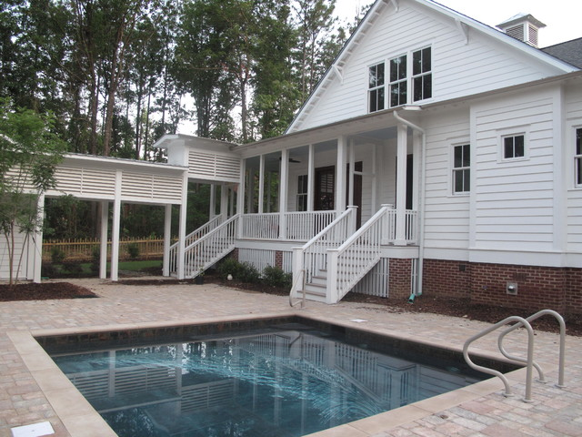 Traditional Southern Style Farmhouse Pool Birmingham