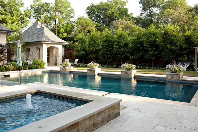 Traditional with a twist traditional pool dallas for Pool design houzz