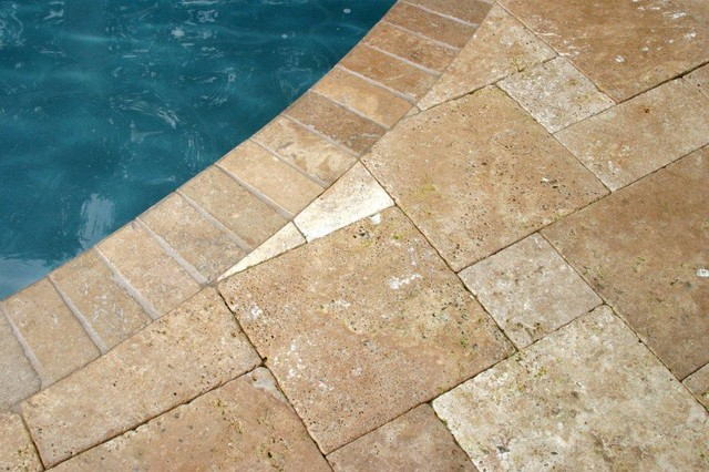Travertine Pavers French Pattern Tumbled Noche With 4x9 Noch Rustic Pool