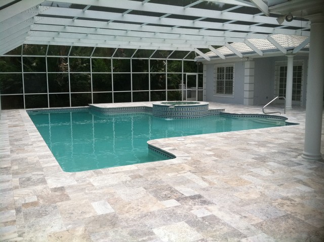 travertine pavers - pool deck with silver tumbled french pattern
