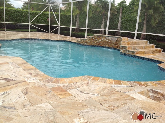 Travertine Pool Deck and Patio Remodeling rustic-pool