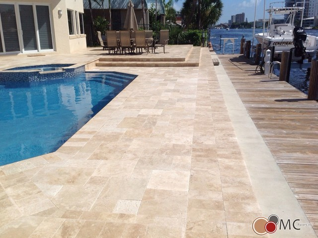 travertine pool deck and patio remodeling - modern - pool - miami