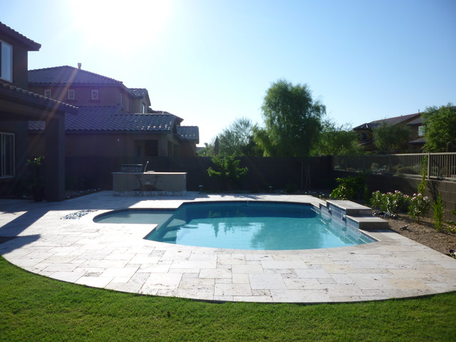 Travertine pool deck contemporary pool phoenix by for Pool design pattern