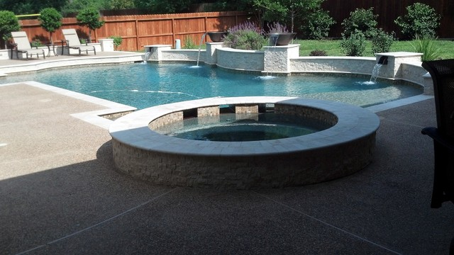 Travertine Pool With Copper Water Bowls Scuppers