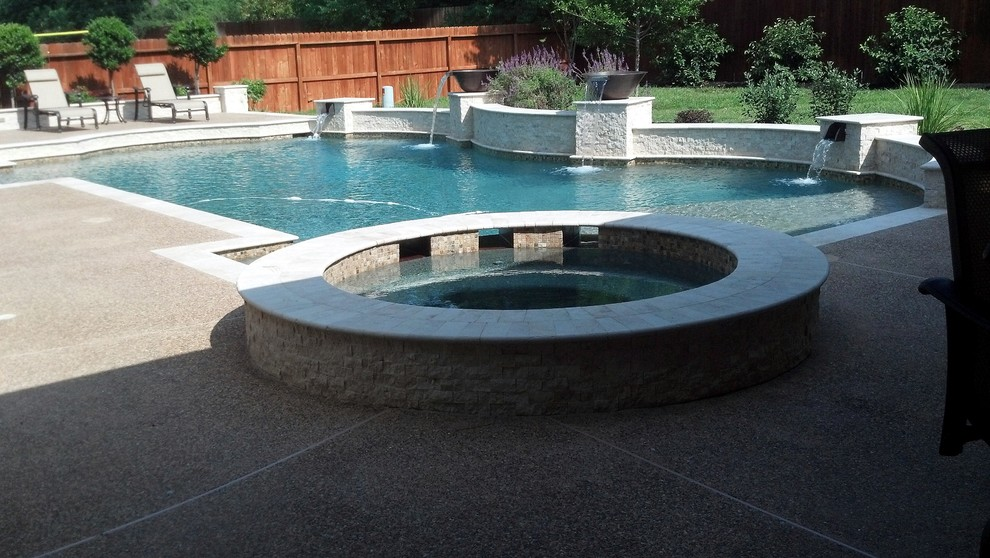 Travertine Pool with Copper Water Bowls & Scuppers ...