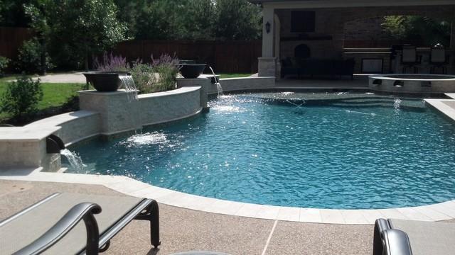 Travertine Pool With Raised Beam Wall Amp Spa With Custom