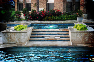 Travertine Raised Spa Contemporary Pool Dallas By