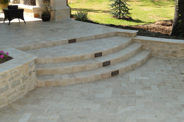 Travertine Steps With Copper Halogen Lighting Traditional Pool