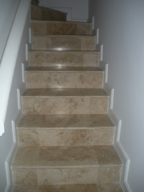 Travertine Tile Steps Contemporary Staircase Other