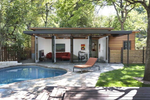 Travis heights guest house modern pool austin by for Modern guest house plans