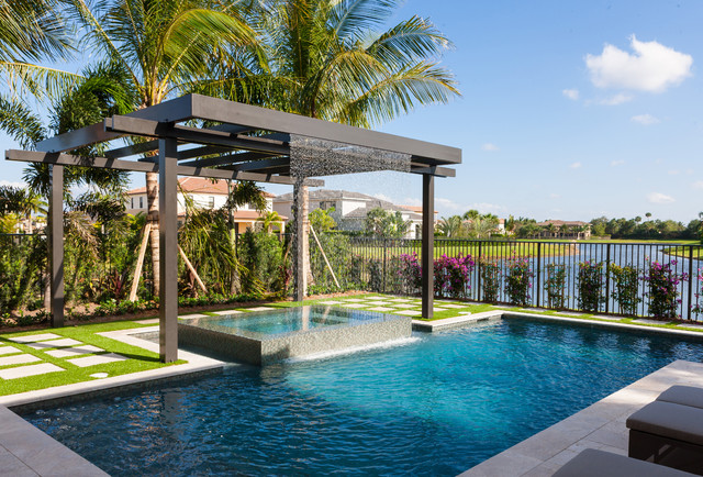 Trellis pergolas contempor neo piscina miami de for Idee per party in piscina