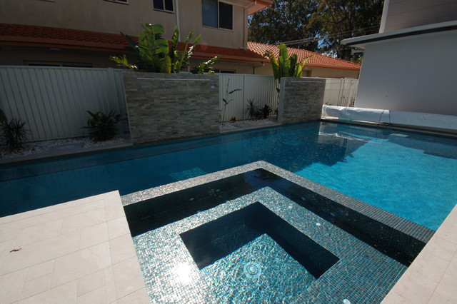 Trend Glass Mosaic Spa Modern Pool Brisbane By