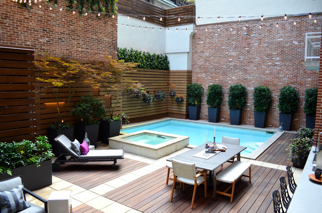 Tribeca Pool Garden Contemporary Swimming Pool Hot
