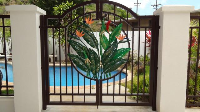 Tropical Pool Gate Tropical Pool Hawaii by Fusion Art 808