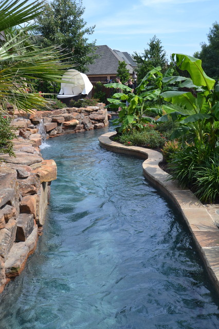 Colleyville residential lazy river tropical pool for Residential pools