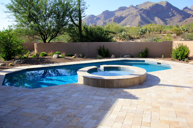Tucson travertine southwestern pool phoenix by for Pool design tucson