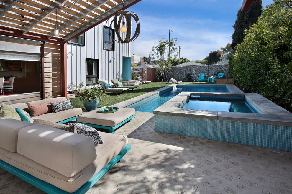 Pool - contemporary stamped concrete pool idea in Los Angeles