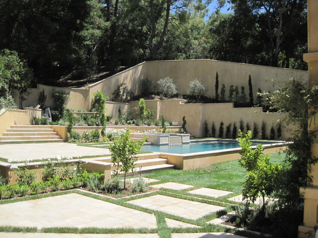 Tuscan Inspired Pool Garden Mediterranean Swimming Pool