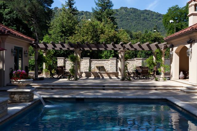 Tuscan pool and koi pond mediterranean pool san for Koi pond from pool
